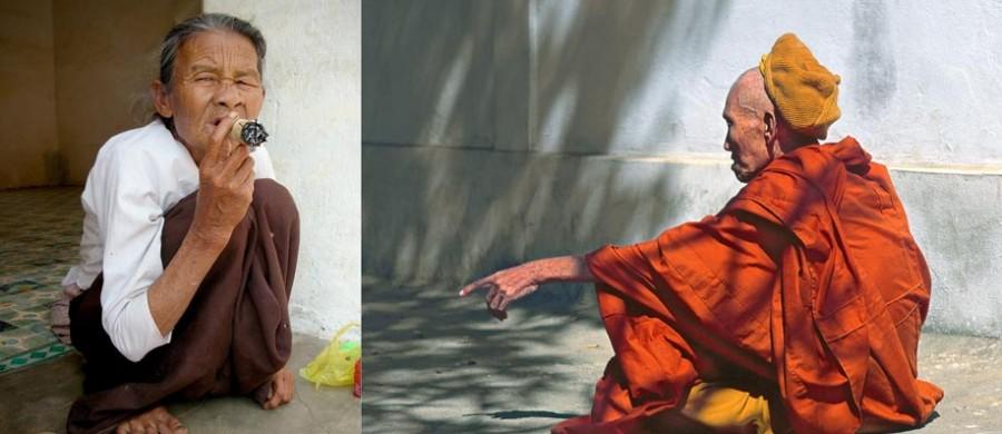 un moine boudhiste face à une fumeuse de cheroot en Birmanie